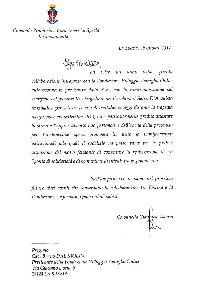 lettera Carabinieri