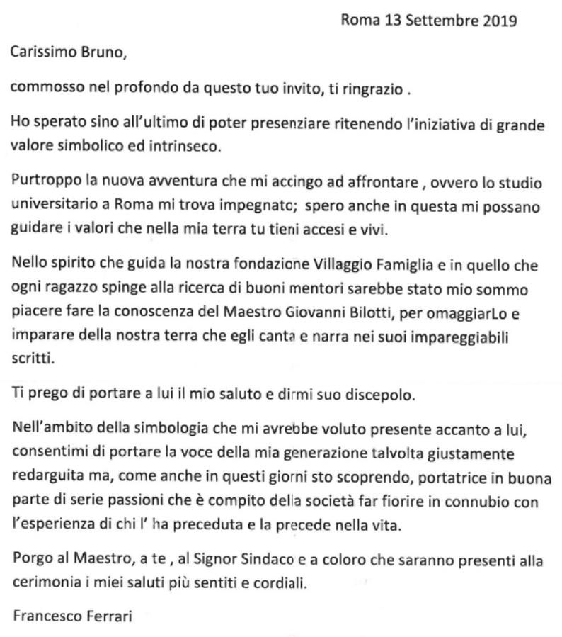 Lettera Francesco Ferrari